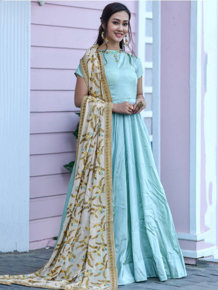 Sky Blue Silk Festival Wear Gown With Embroidered Dupatta