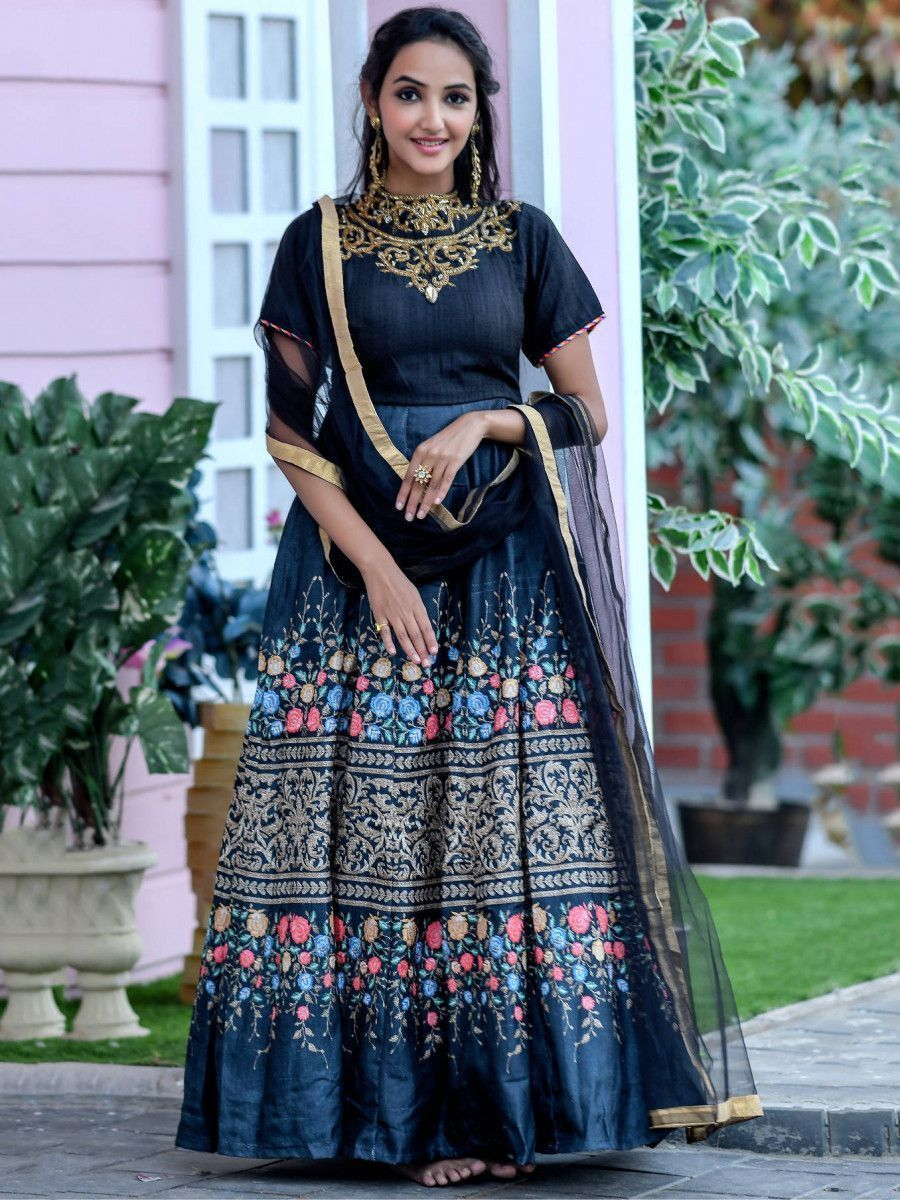 Black Hand Work Silk Festival Wear Gown With Dupatta