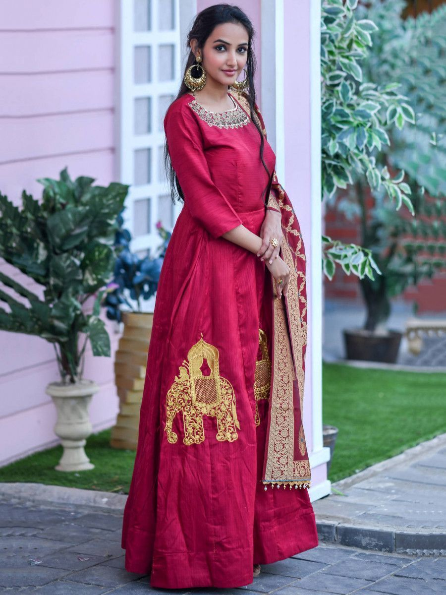 Red Hand Work Silk Festival Wear Gown With Banarasi Dupatta