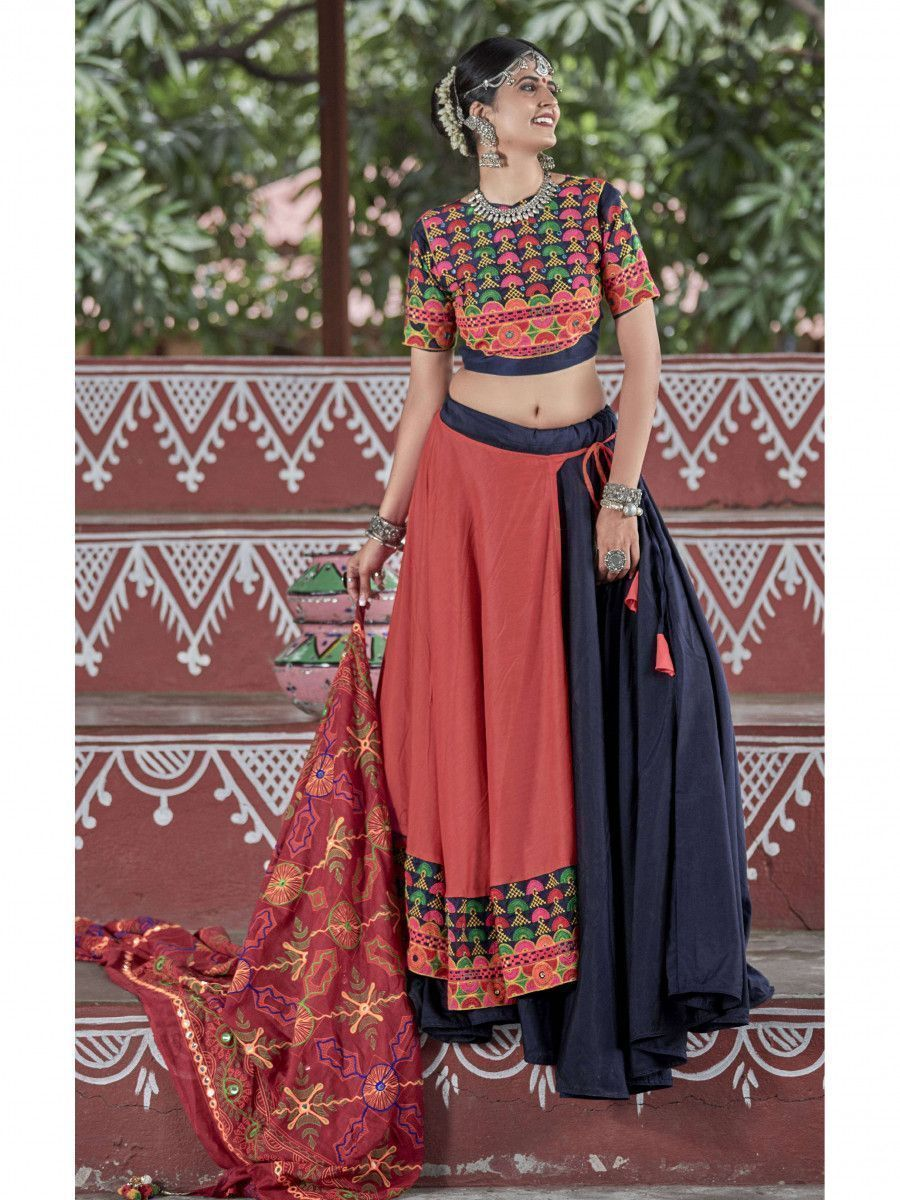 Navy Blue-Orange Color Traditional Lehenga Choli For Navratri