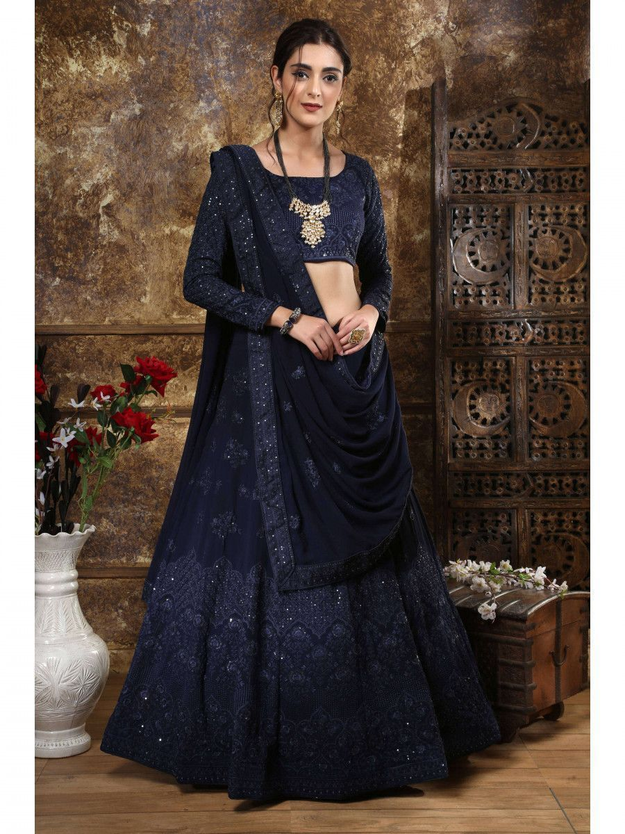 Navy Blue Embroidered Georgette Festive wear Lehenga Choli