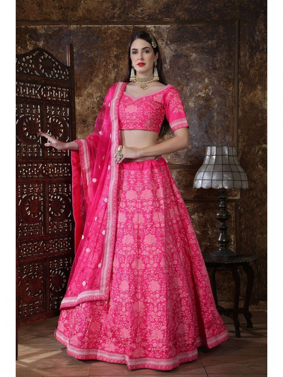 Pink Embroidered Silk Festive wear Lehenga Choli With Dupatta