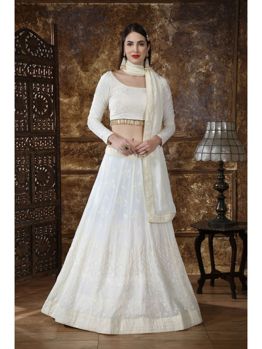 Off White Embroidered Georgette Festive wear Lehenga Choli