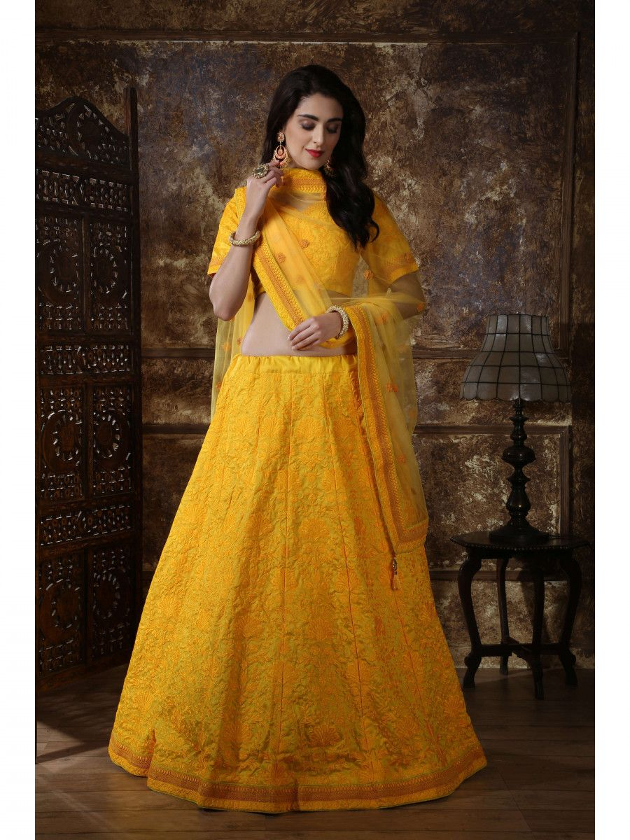 Yellow Embroidered Silk Festive wear Lehenga Choli