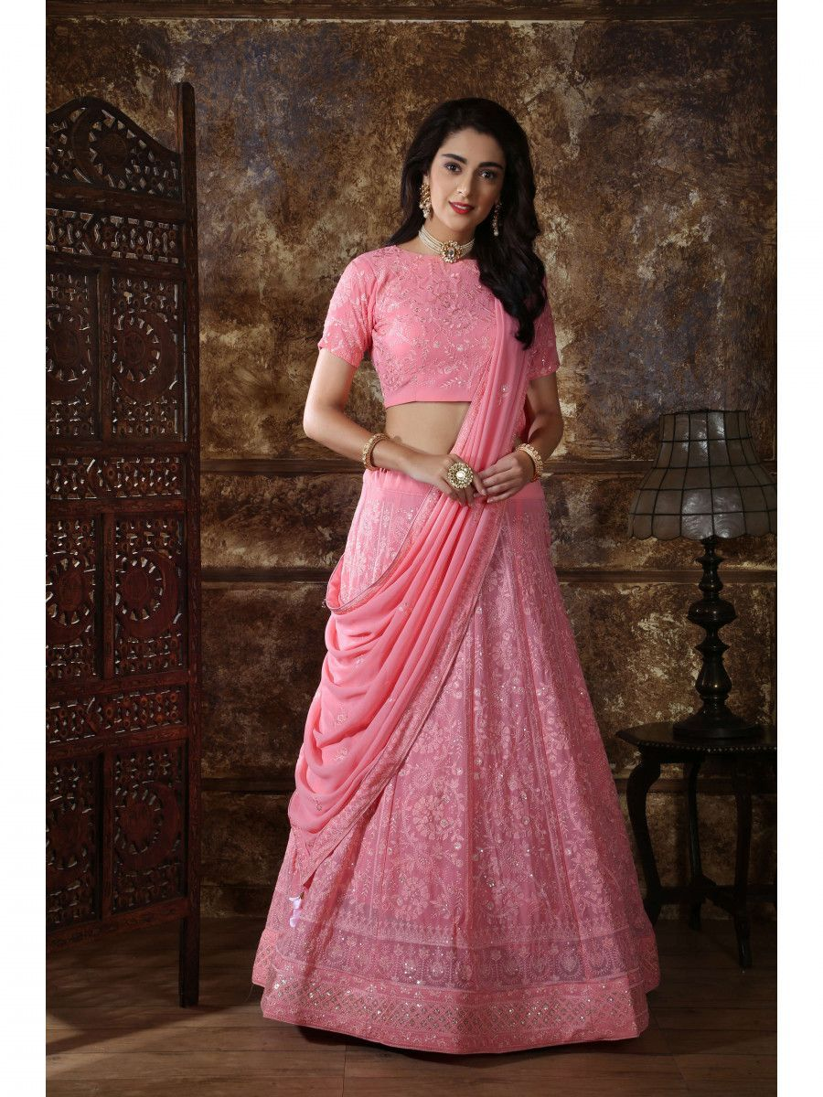 Dusty Pink Embroidered Georgette Festive wear Lehenga Choli
