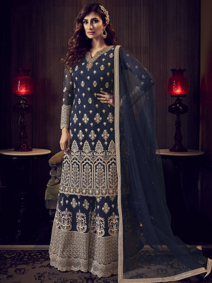 Navy Blue Embroidered Net Party Wear Sharara Suit