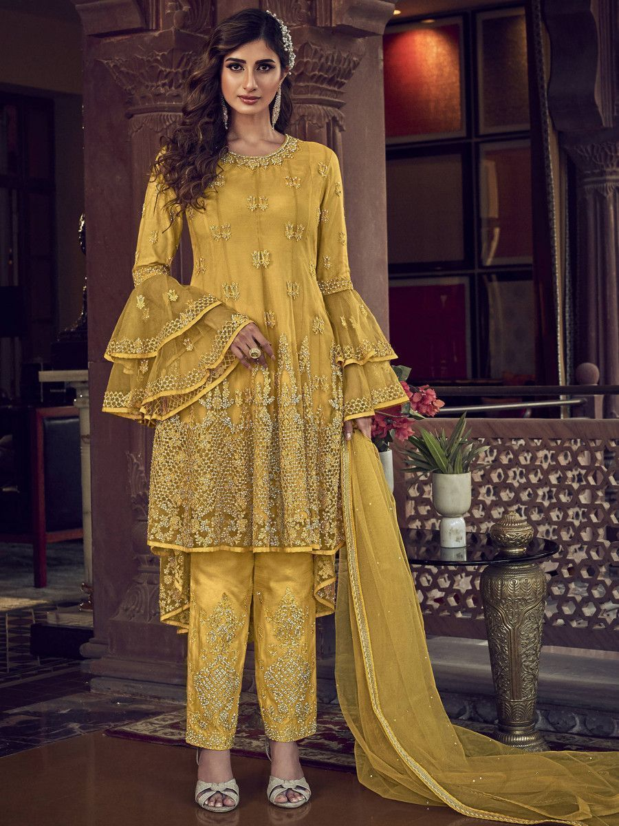 Yellow Embroidered Net Party Wear Up-Down Salwar Kameez