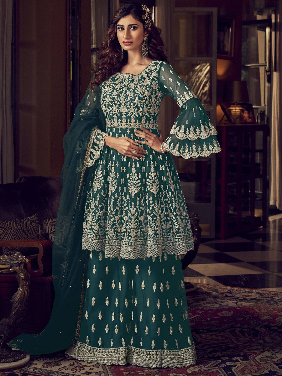 Teal Green Embroidered Net Party Wear Anarkali Sharara Suit