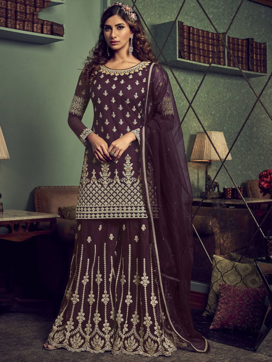 Wine Embroidered Net Party Wear Sharara Suit