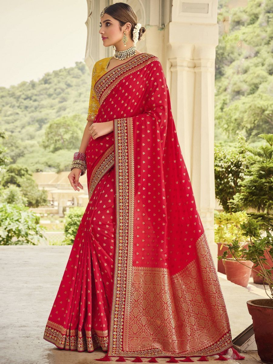 Red & Yellow Embroidered Silk Wedding Wear Saree With Blouse