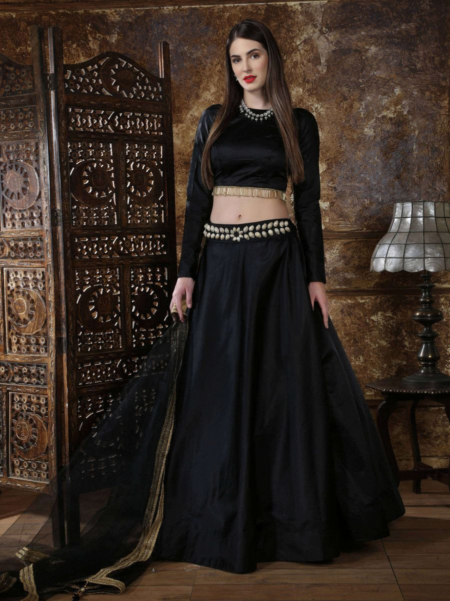 Black Satin Silk Partywear Lehenga Choli With Dupatta