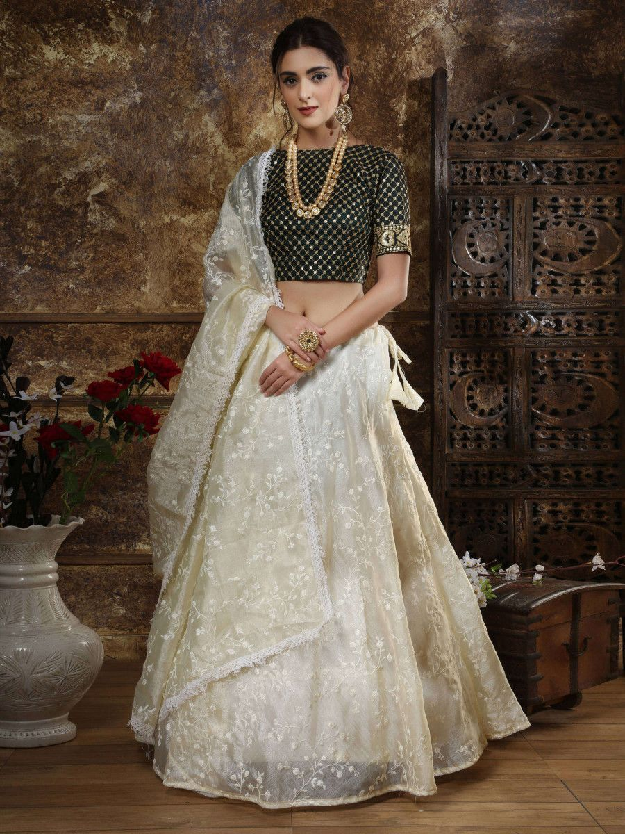 Off-White Thread Embroidery Organza Silk Festive Wear Lehenga Choli With Dupatta