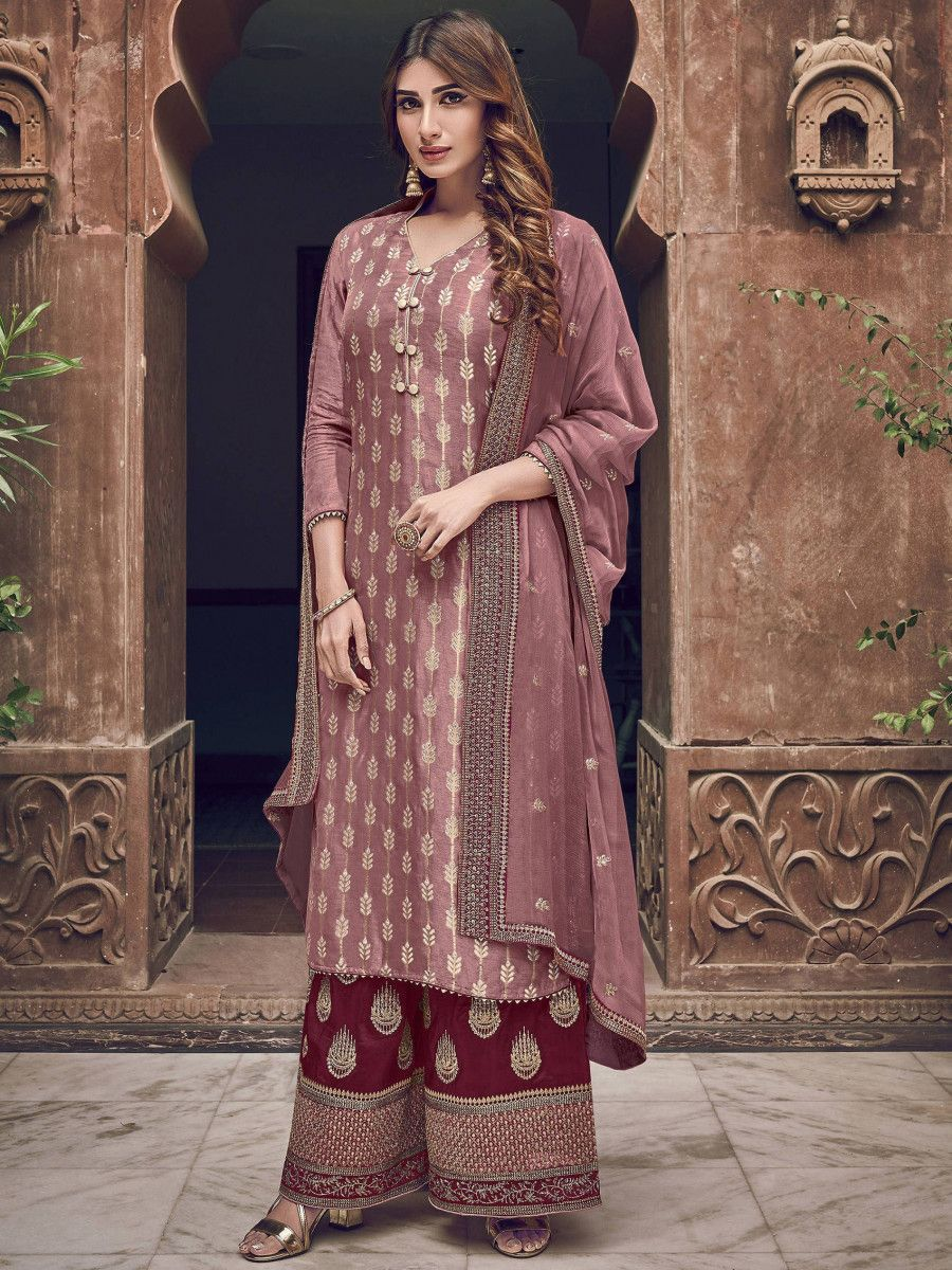 Rose Gold Embroidered Jacquard Festive Wear Palazzo Suit
