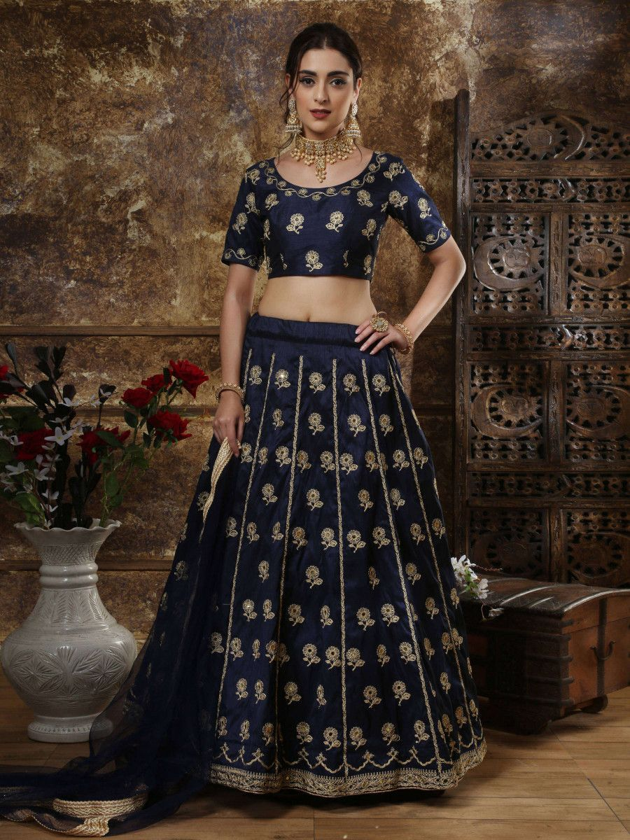 Navy Blue Embroidery Art Silk Festive Wear Lehenga Choli With Dupatta