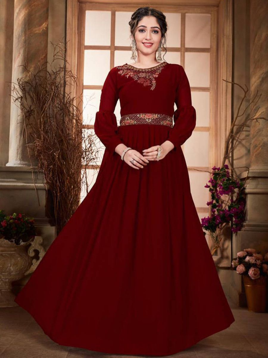 Maroon Embroidered Georgette Festival Wear Long Gown