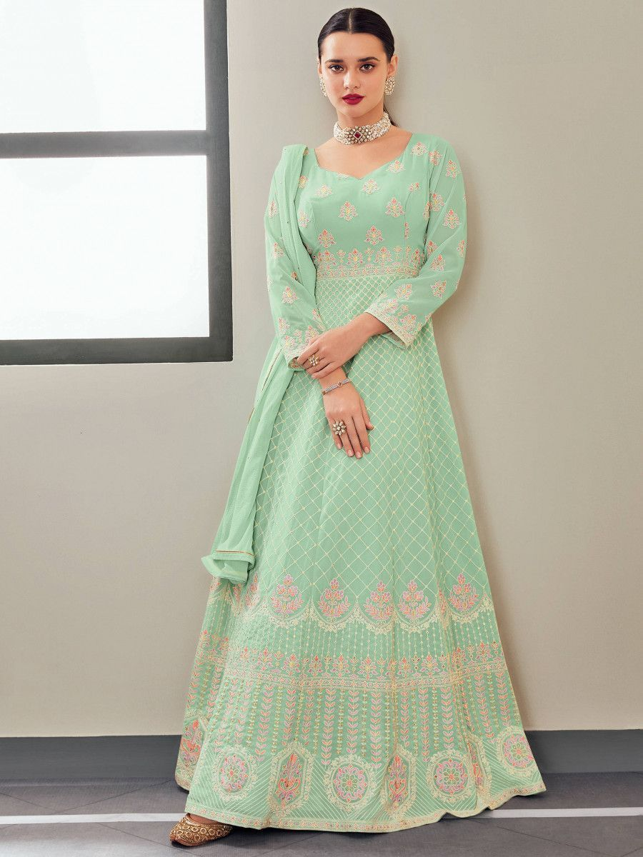 Light Green Multi Thread Georgette Party Wear Gown With Dupatta