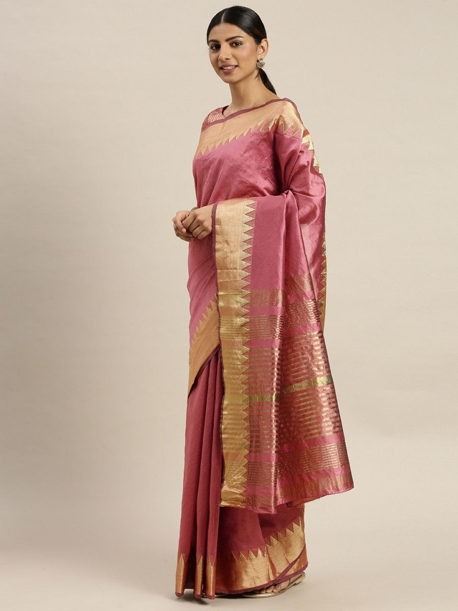 Pink & Golden Silk Blend Solid Banarasi Myntra Saree