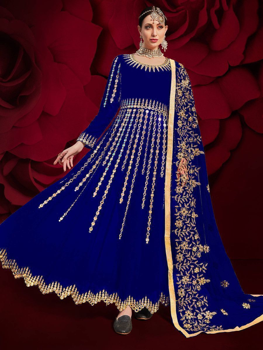 Blue Mirror Work Georgette Festive Pakistani Salwar Suit