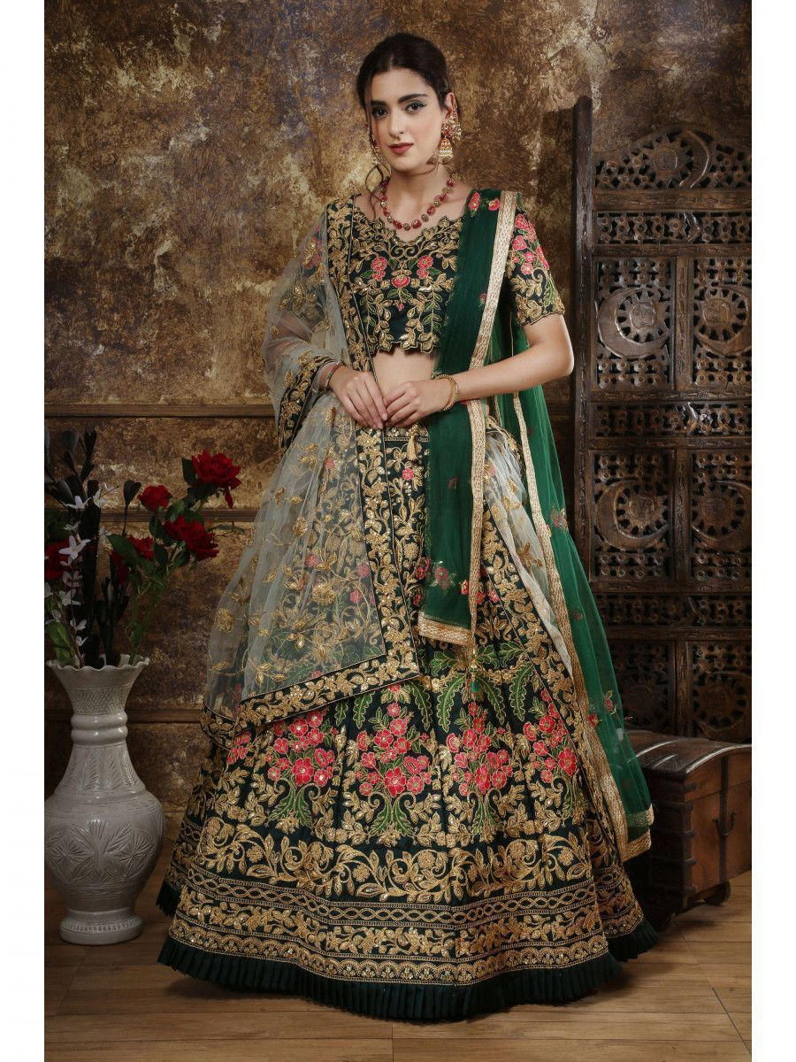 Bottle Green Embroidered Taffeta Silk Bridal Lehenga Choli