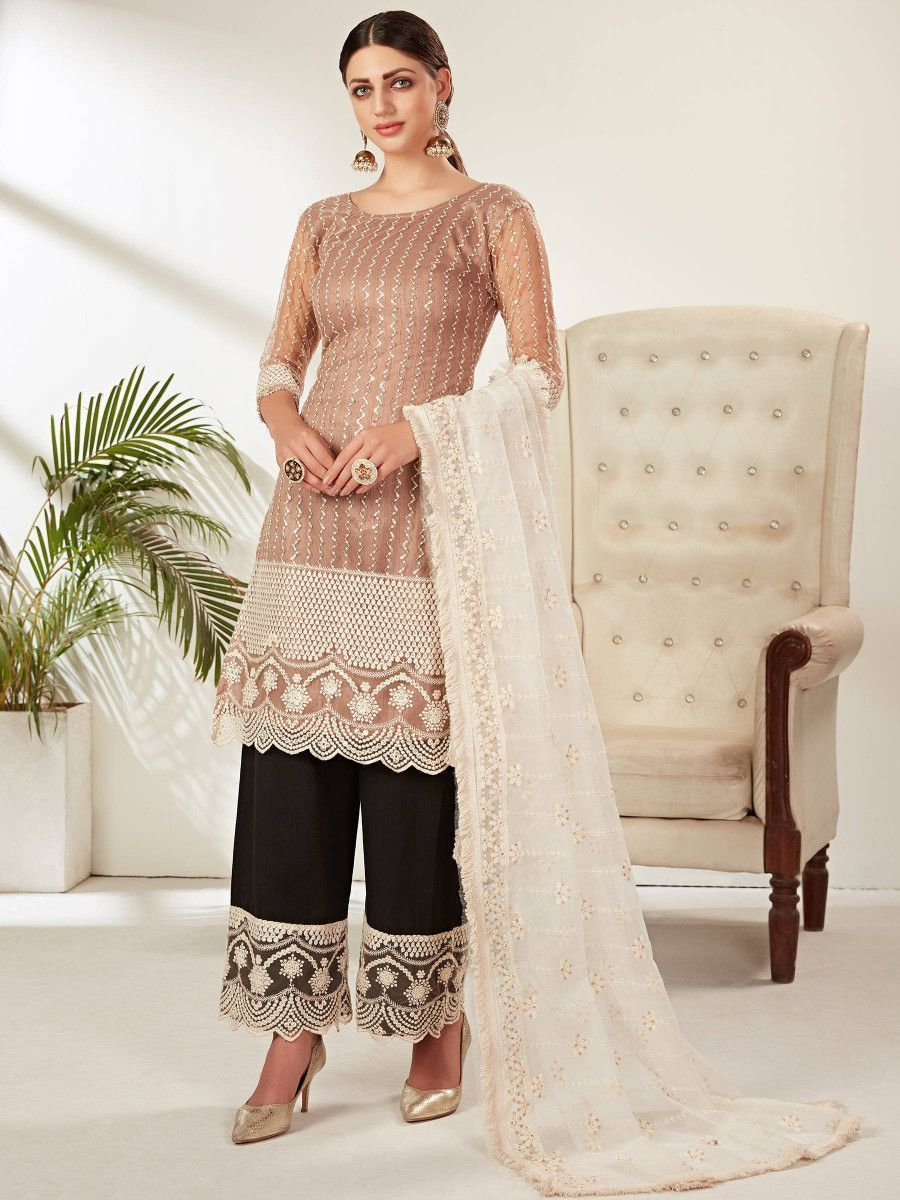 Brown Embroidered Party Wear Straight Cut Palazzo Suit