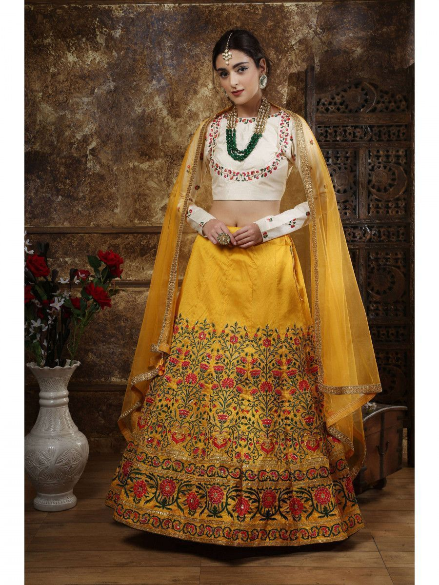 Mustard Yellow Embroidered Silk Bridal Lehenga Choli