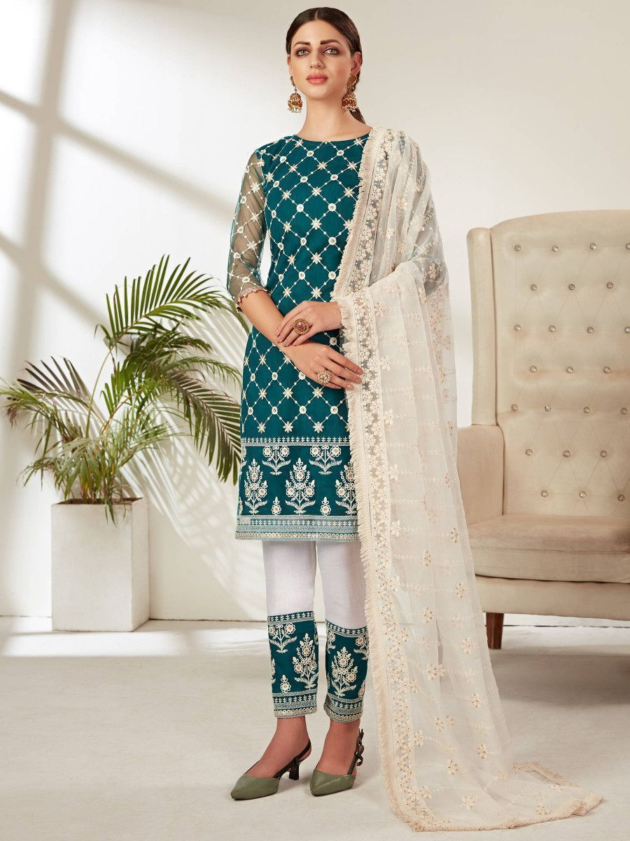 Teal Blue Embroidered Party Wear Straight Cut Salwar Kameez