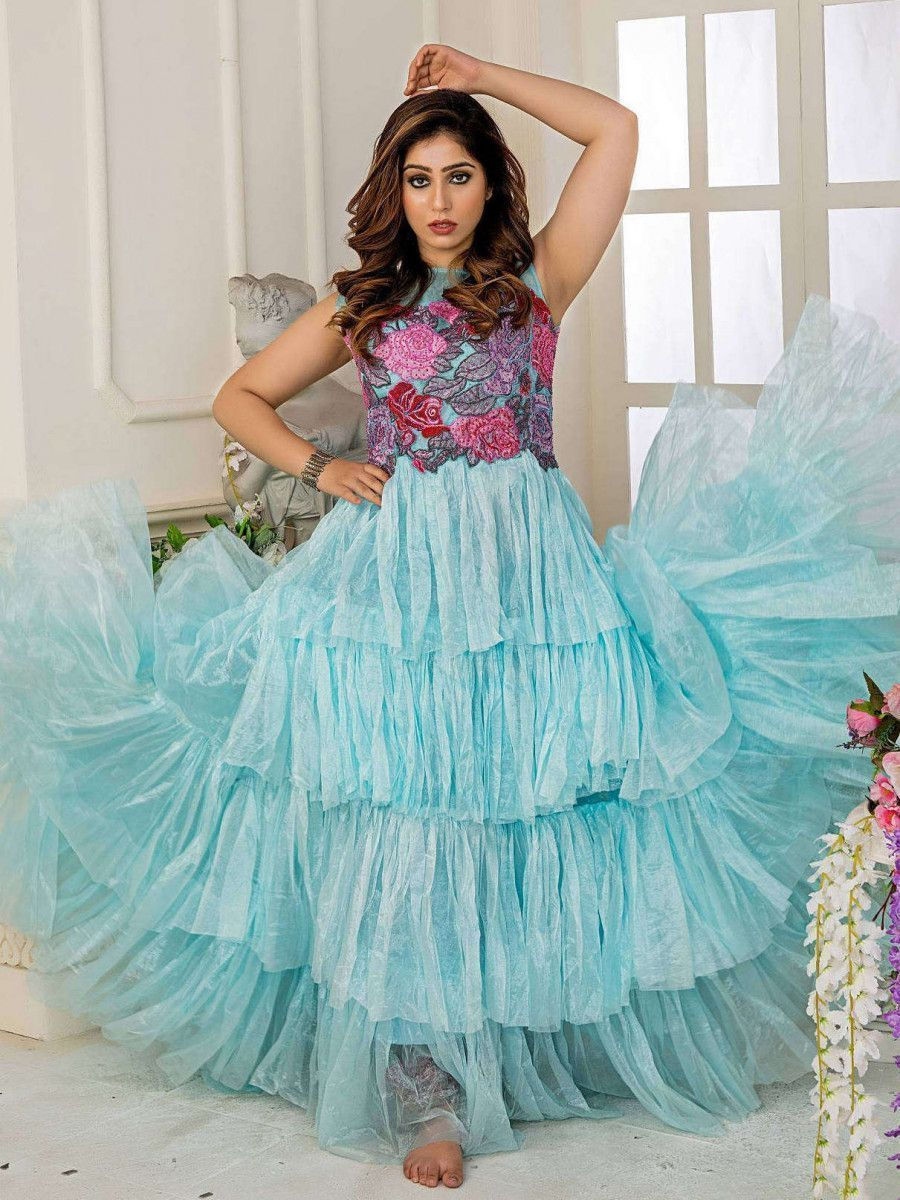 Aqua Embroidered Net Partywear Ruffle Gown