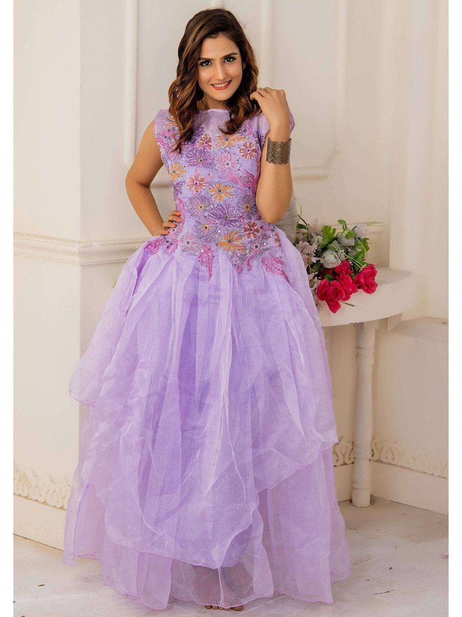Light Purple Embroidery Net Partywear Western Gown