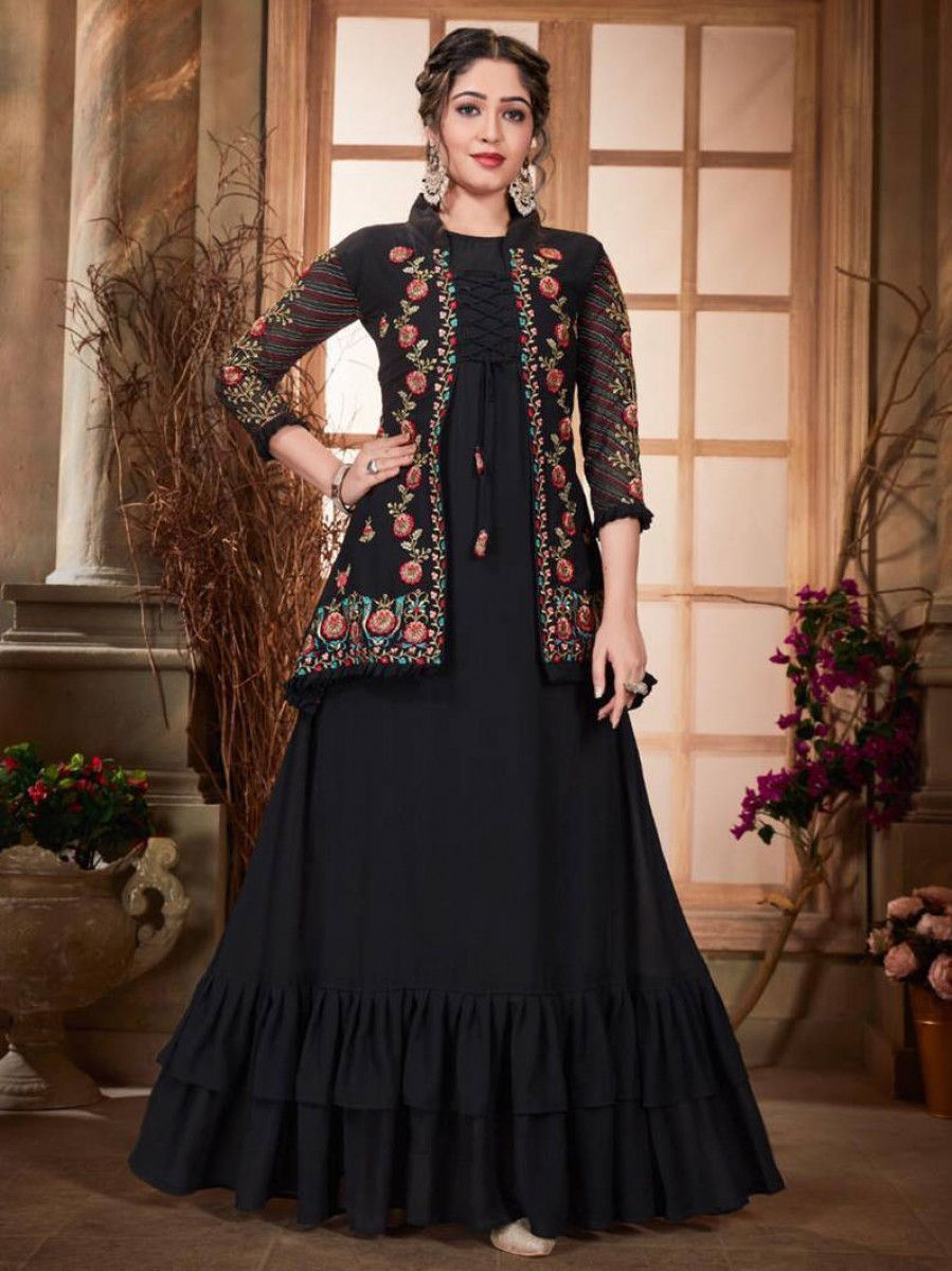 Black Ruffle Georgette Party Wear Gown With Embroidered Jacket