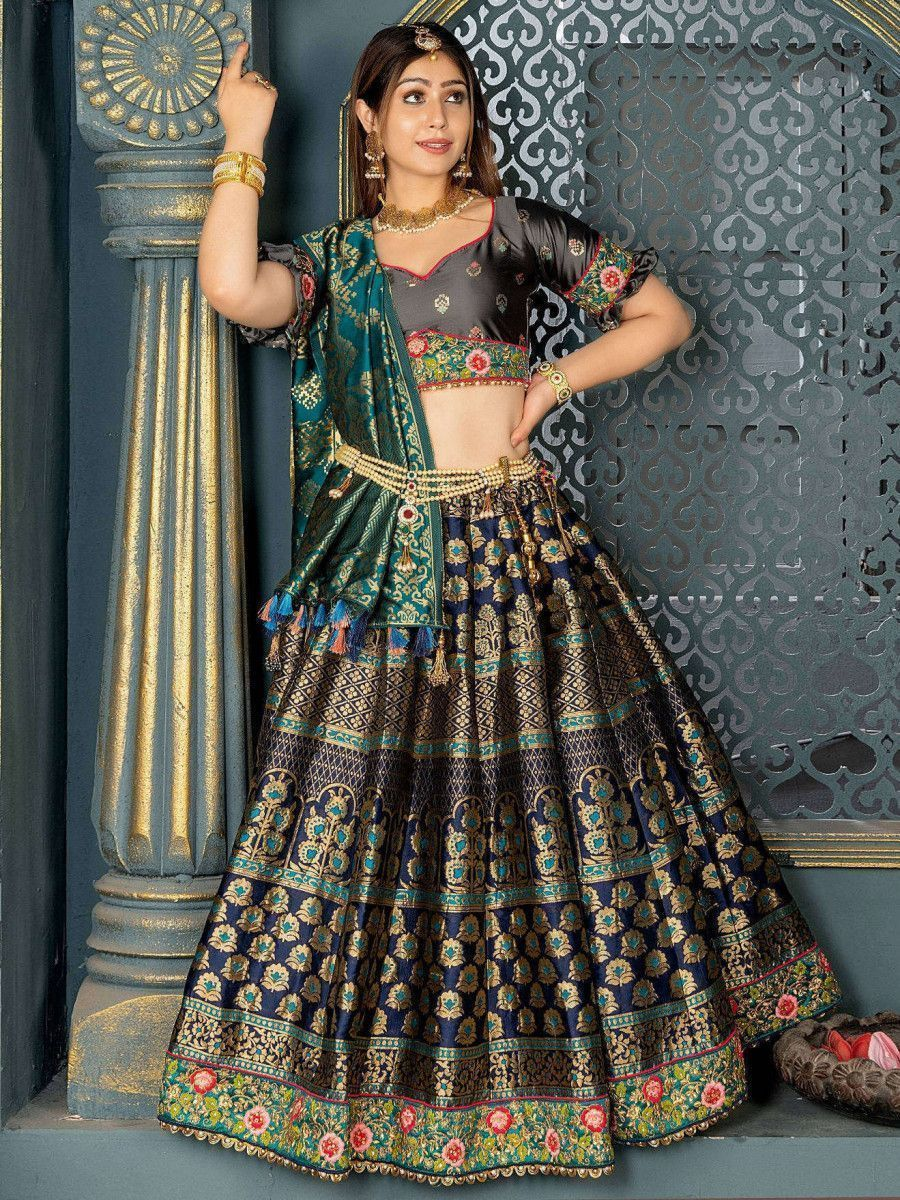 Navy Blue Laced Banarasi Silk Bridal Lehenga With Grey Choli and Dupatta