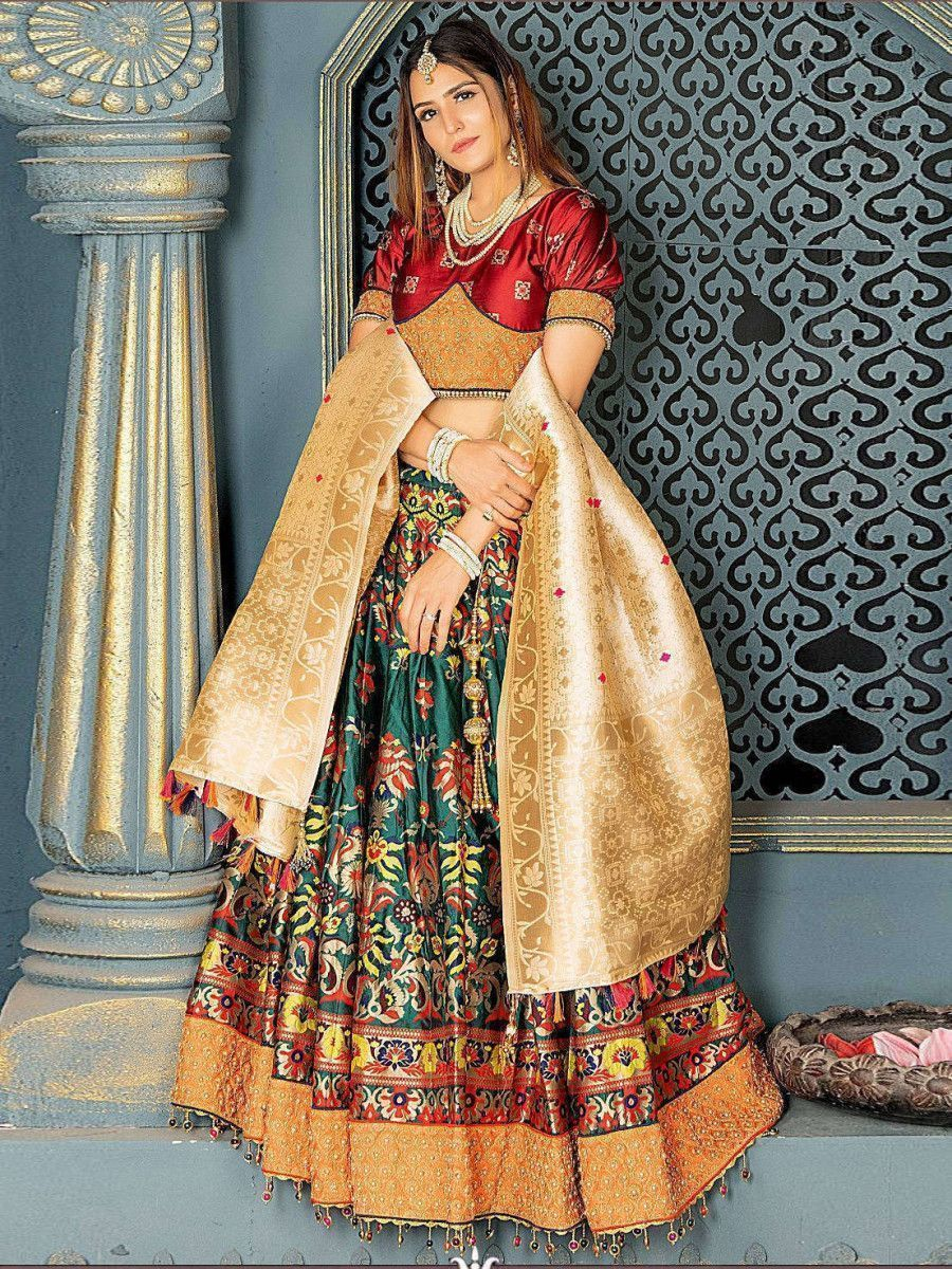 Bottle Green Embroidered Banarasi Silk Bridal Lehenga Choli and Dupatta