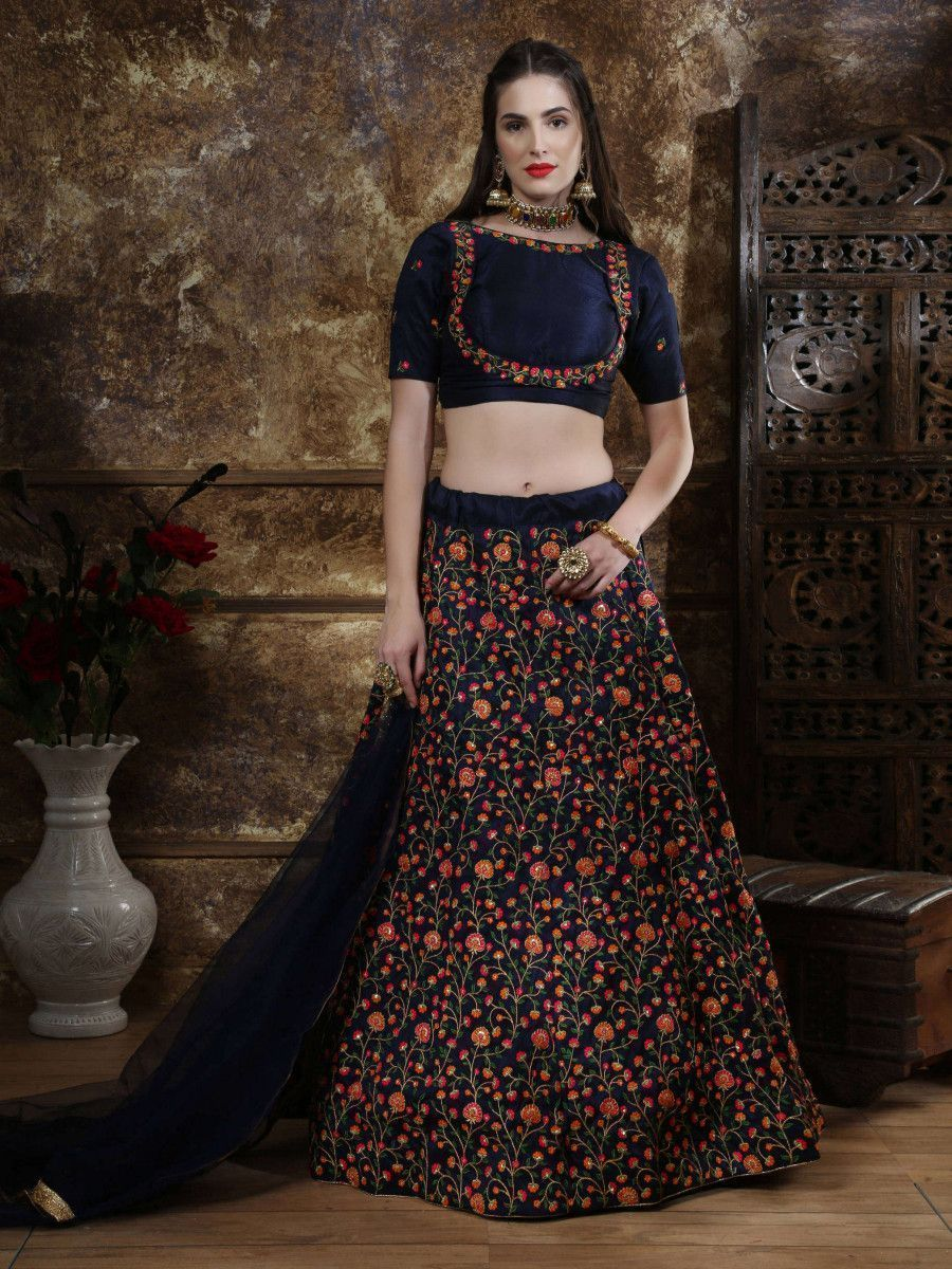Navy Blue Sequins Embroidery Silk Wedding Lehenga Choli With Dupatta