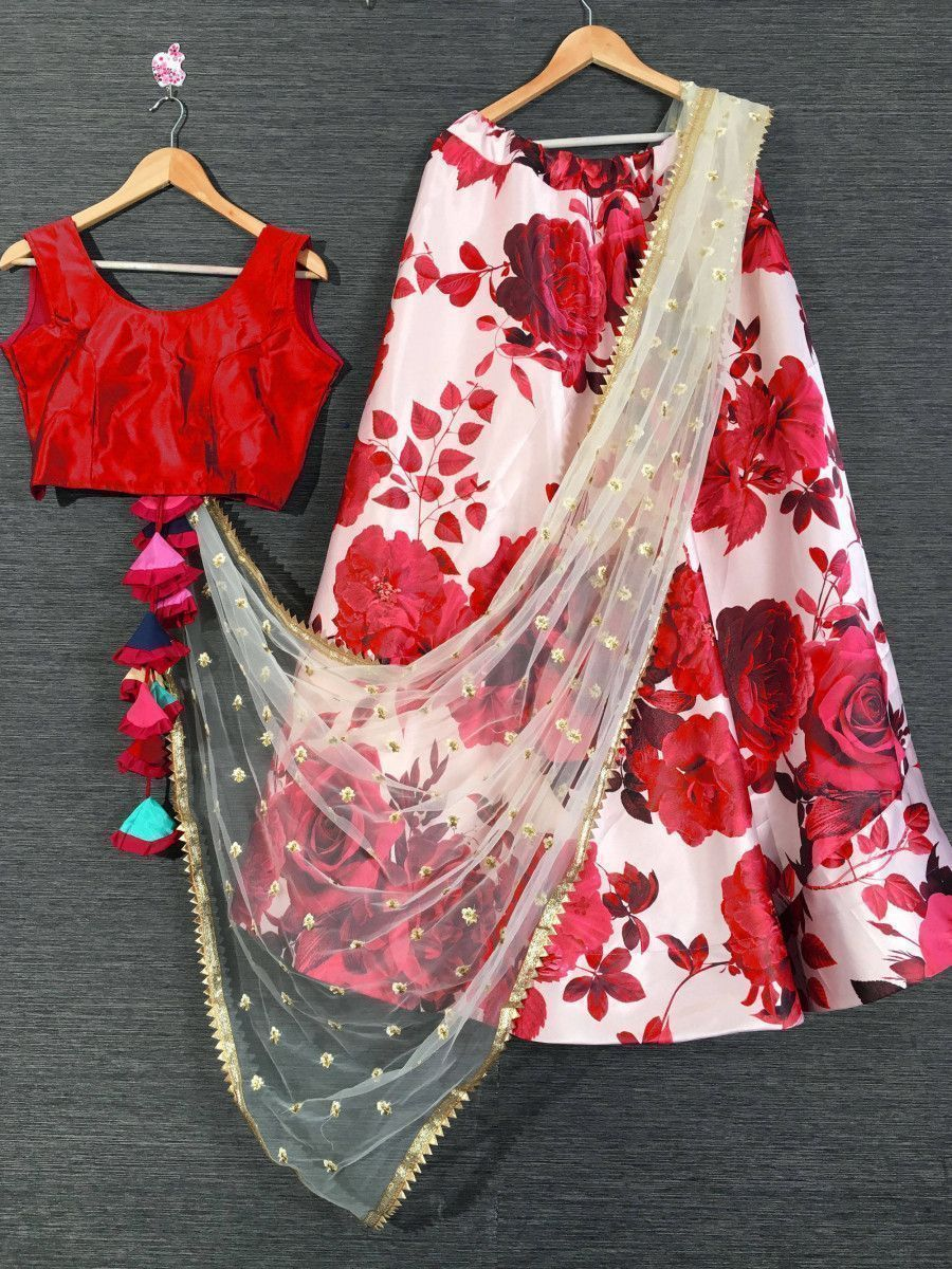 Red Floral Printed Festival Wear Readymade Lehenga Choli With Dupatta