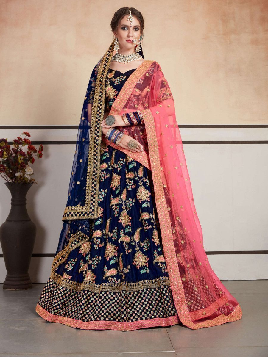 Navy Blue Embroidered Wedding Wear Lehenga Choli With Two Dupatta