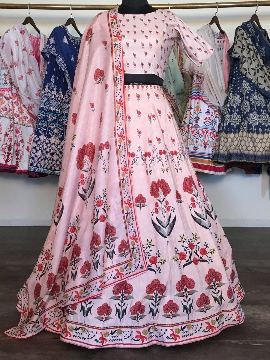 Peach Floral Heavy Digital Printed Silk Party Wear Lehenga Choli