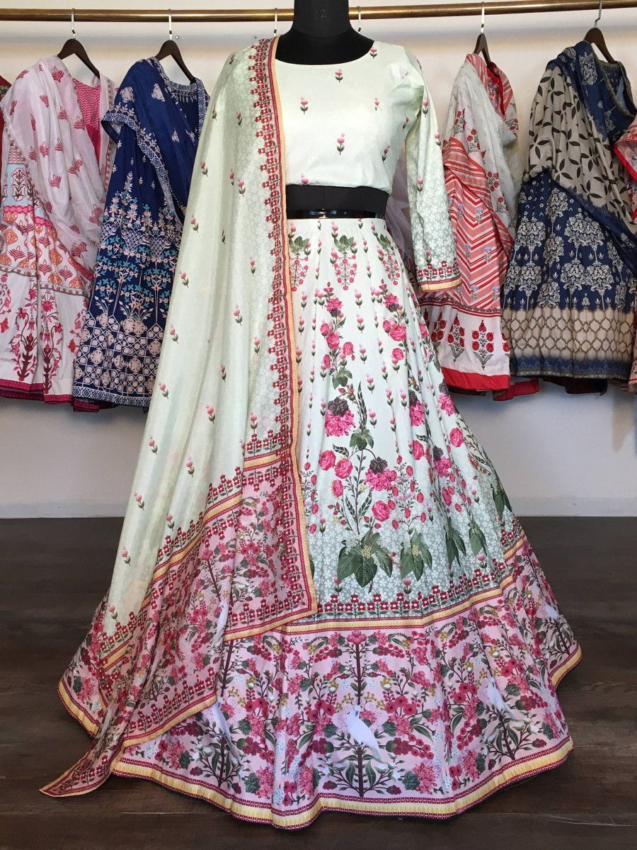 Light Green Multi Floral Printed Silk Party Wear Lehenga Choli