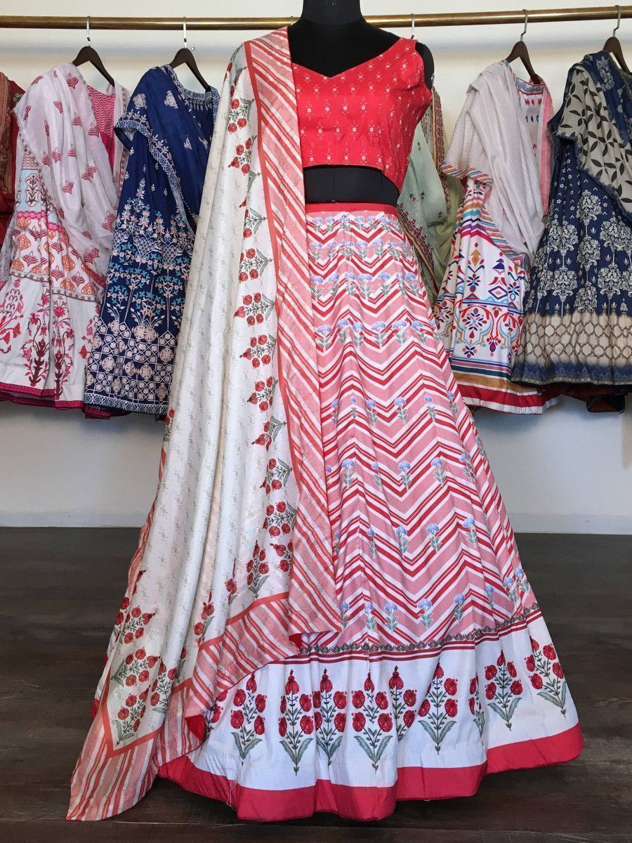 Red-White Floral Printed Silk Party Wear Lehenga Choli