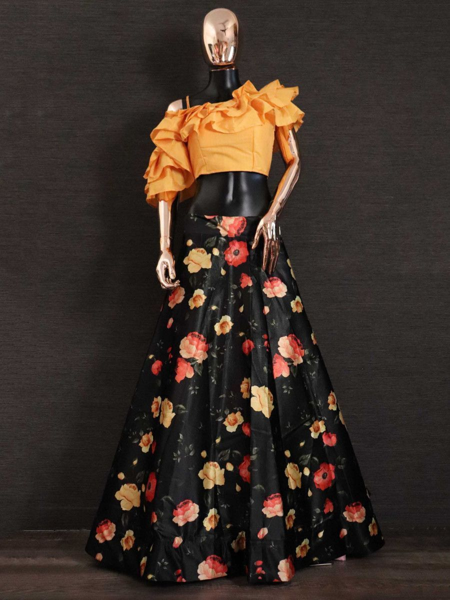 Orange Ruffle Silk Party Wear Readymade Crop Top With Floral Lehenga