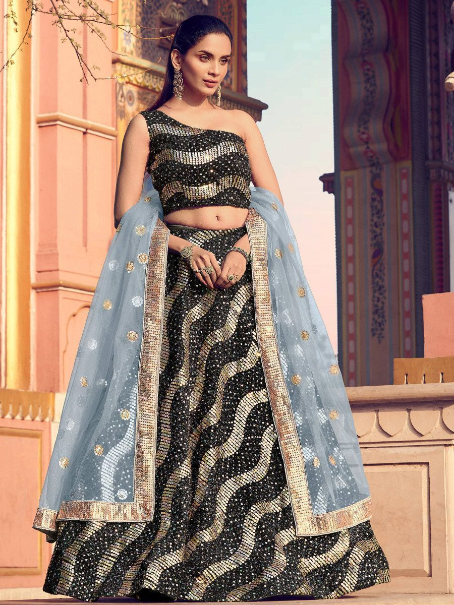 Gold-Black Sequins Fur Party Wear Lehenga Choli