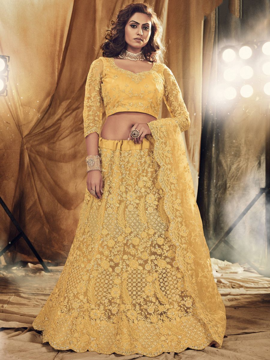 Cream Floral Stone Embroidered Net Bridal Lehenga Choli