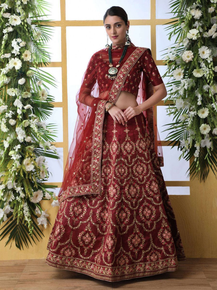 Maroon Thread Embroidered Art Silk Bridal Lehenga Choli