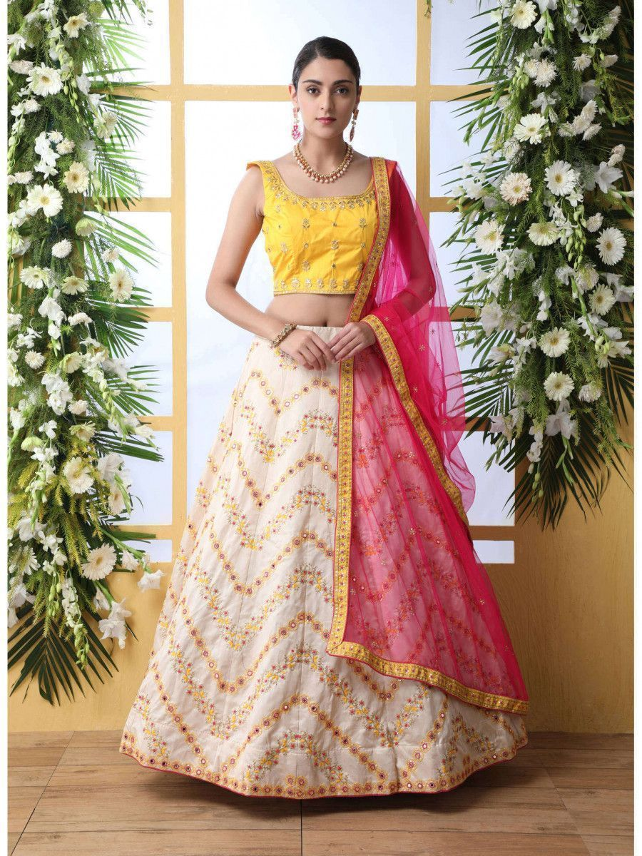 Off White Embroidered Art Silk Party Wear Lehenga Choli With Dupatta
