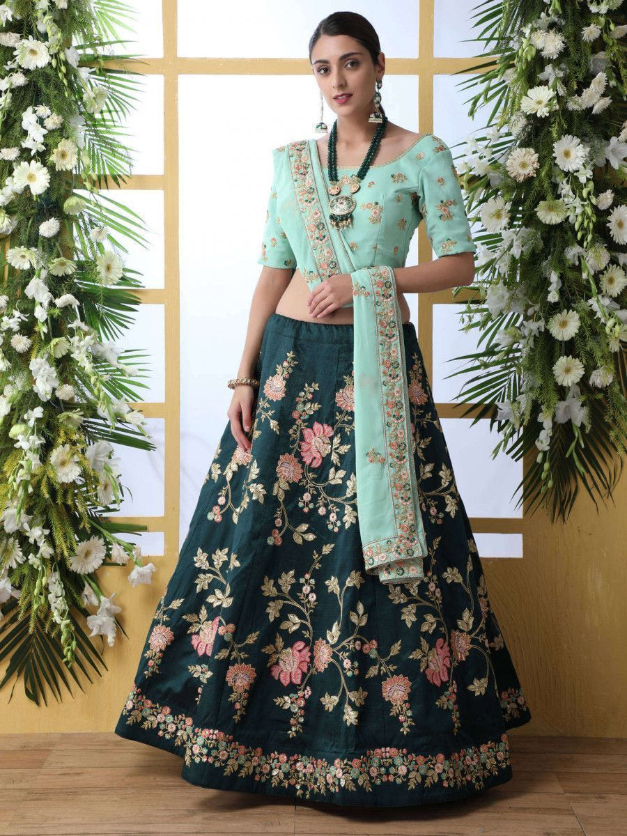 Teal Green Floral Embroidered Wedding Wear Lehenga Choli With Dupatta