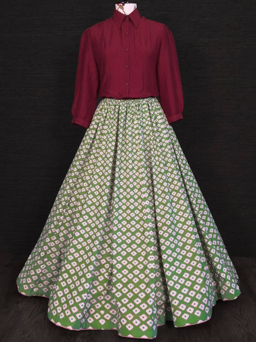 Red & Green Printed Silk Indo Western Readymade Shirt With Skirt