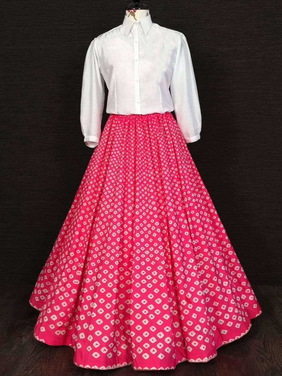 Pink And White Printed Silk Indo Western Readymade Shirt With Skirt
