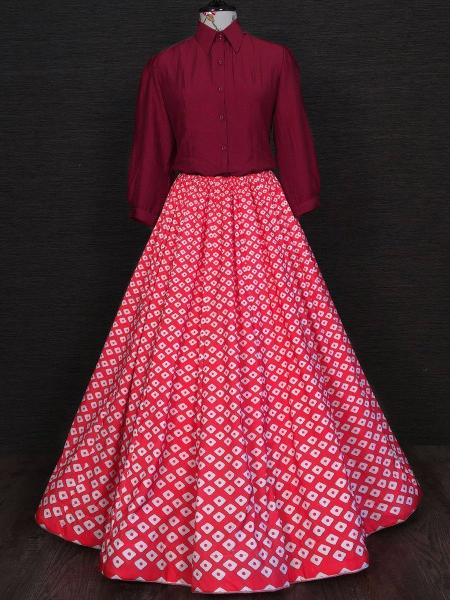 Red And Maroon Printed Silk Indo Western Readymade Shirt With Skirt