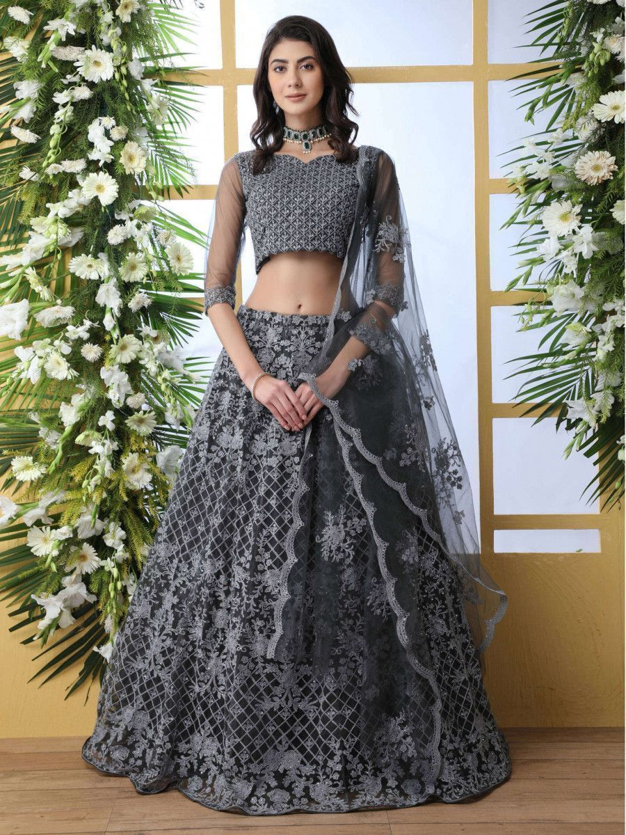 Grey Thread Embroidered Net Party Wear Lehenga Choli