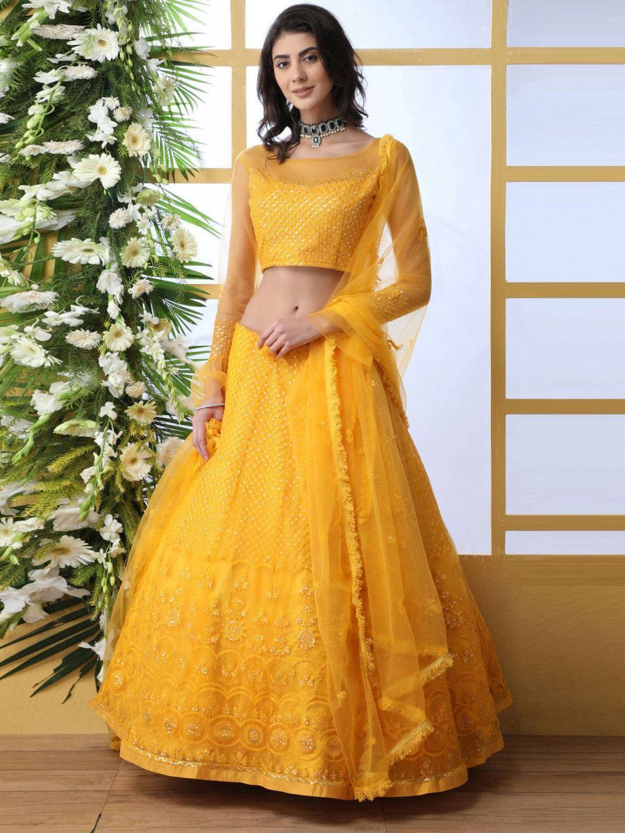 Mustard Yellow Thread Embroidered Party Wear Lehenga Choli