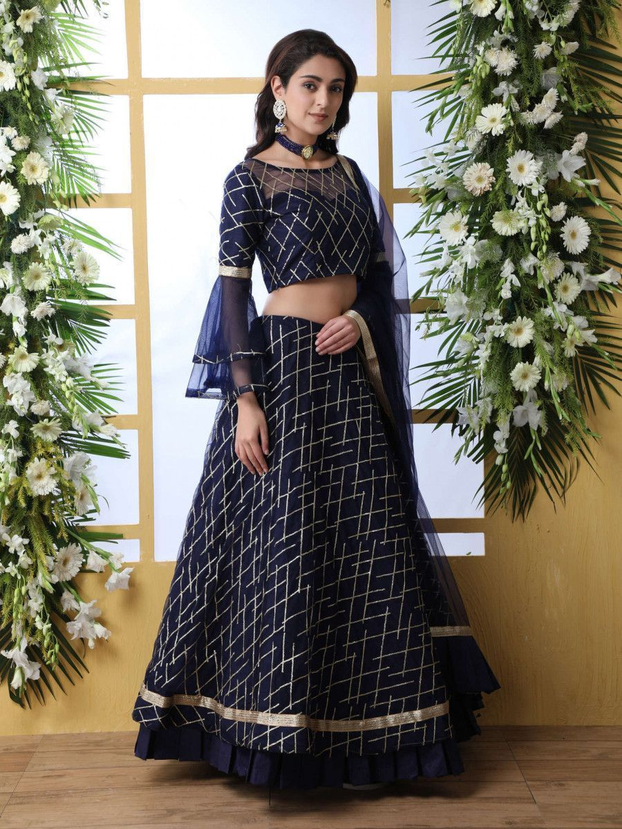 Navy Blue Bell Sleeved Thread Embroidered Party Wear Lehenga Choli