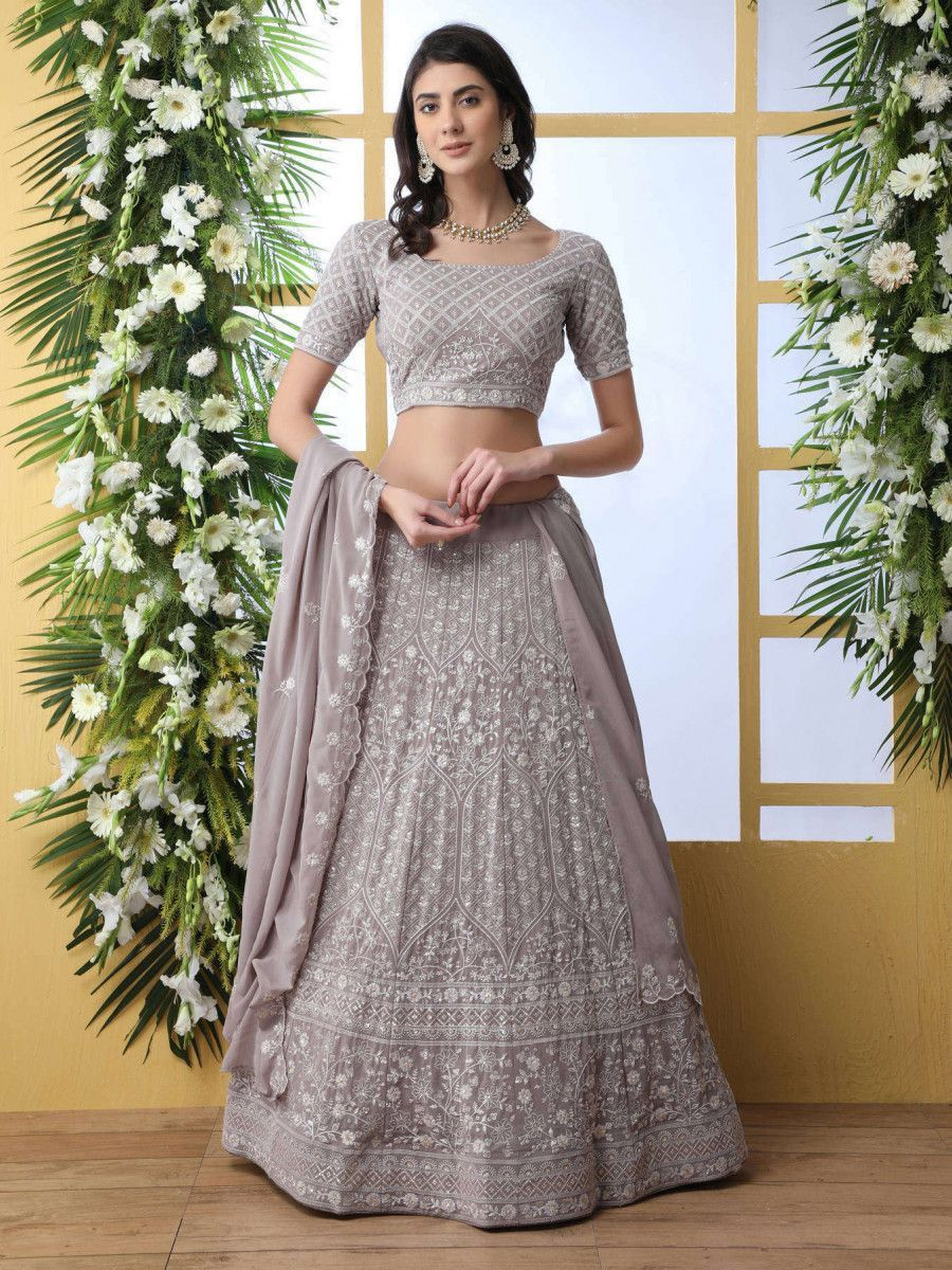 Grey Thread lucknowi Work Georgette Party Wear Lehenga Choli